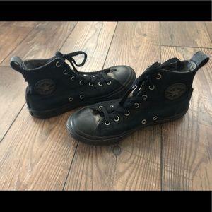 Black & Camo hightop Converse shoes